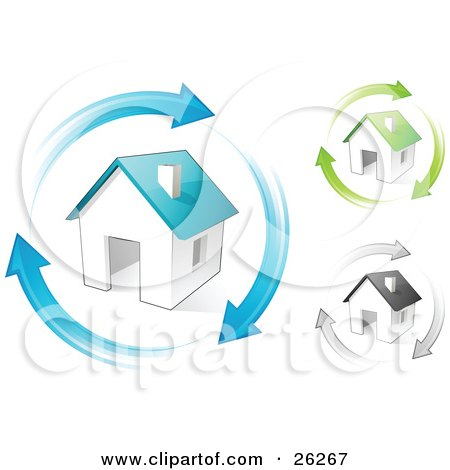 Clipart Illustration of Blue, Green And Gray Homes With Matching Colored Arrows Circling Around Them, Symbolizing Remodeling, Real Estate Or Eco Friendly Housing by beboy