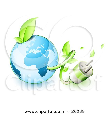 Clipart Illustration of a Plug And Vine Emerging From The Blue Earth With A Green Sprout On Top by beboy