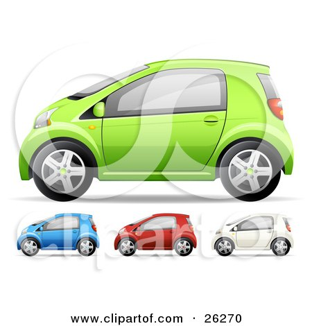 Clipart Illustration of Green, Blue, Red And White Compact Cars, On A White Background by beboy