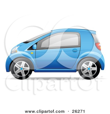 Clipart Illustration of a Cute Little Blue Compact Car Resembling a Yaris, In Profile by beboy