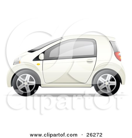Clipart Illustration of a Cute Little White Compact Car Resembling a Yaris, In Profile by beboy