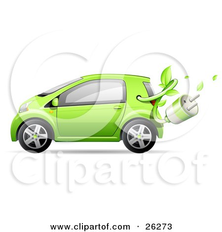Clipart Illustration of a Cute Green Compact Car Resembling A Yaris, With A Leafy Vine And Plug Emerging From The Gas Tank by beboy