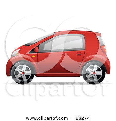 Clipart Illustration of a Cute Little Red Compact Car Resembling a Yaris, In Profile by beboy