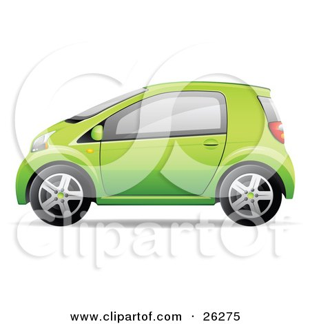 Clipart Illustration of a Cute Little Green Compact Car Resembling a Yaris, In Profile by beboy