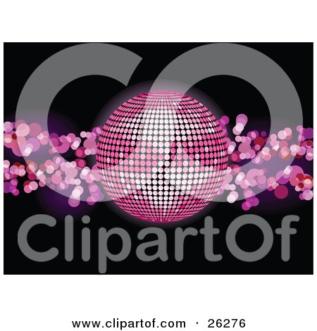 Clipart Illustration of a Sparkling Pink Disco Ball Over A Black Background With Pink Lights by elaineitalia