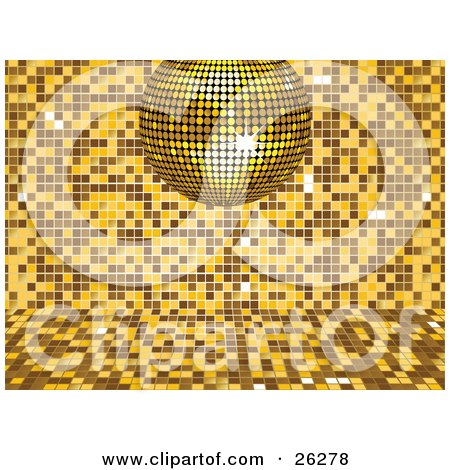 Clipart Illustration of a Sparkling Yellow Disco Ball Suspended Over A Yellow And Brown Mosaic Background At A Party by elaineitalia