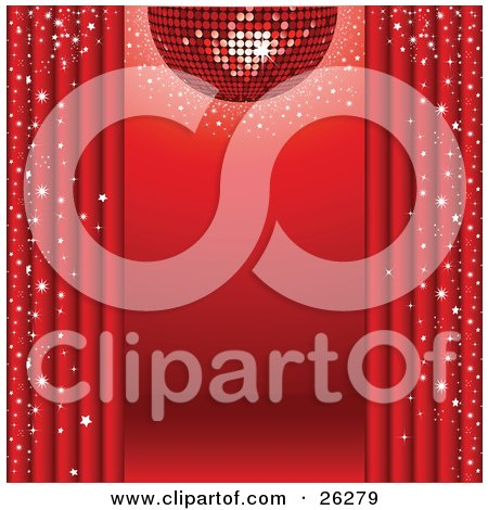 Sparkling Red Disco Ball Suspended Over A Red Stage With Red Curtains And Star Confetti Posters, Art Prints