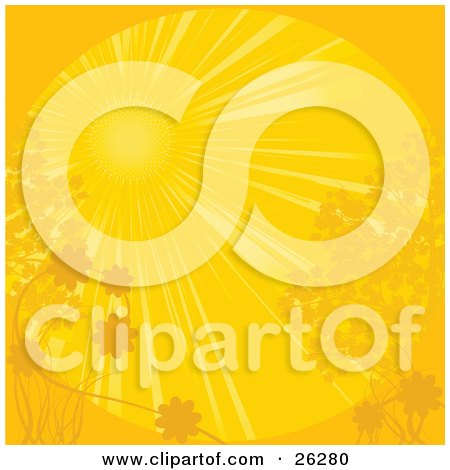 Clipart Illustration of a Bright Yellow Sun Shining Over Plants, Trees And Flowers On A Spring Day by elaineitalia