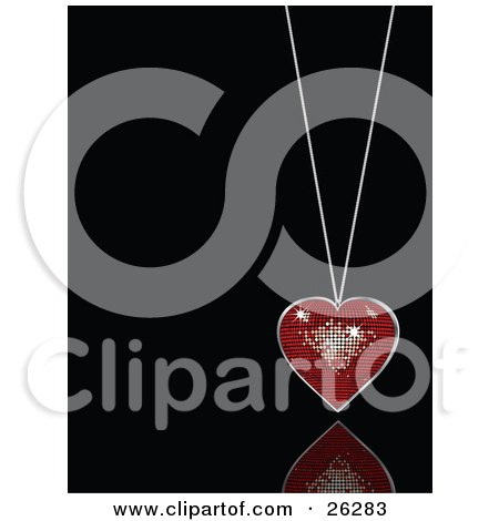 Clipart Illustration of a Sparkling Red Disco Heart Suspended On A Necklace Over A Black Reflective Surface by elaineitalia