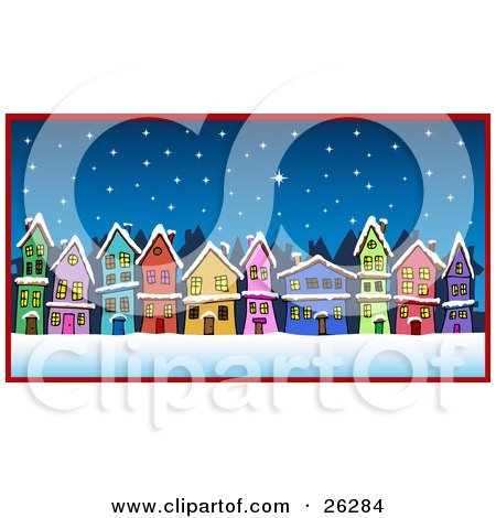 Clipart Illustration of Row Of Colorful Green, Pink, Blue, Orange, Yellow, Red And Purple Houses On A Street Under A Snowy Winter Night by Holger Bogen
