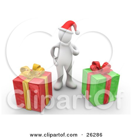 Clipart Illustration of a White Person Wearing A Santa Hat And Rubbing Their Chin, Trying To Guess What Their Christmas Gifts Are by 3poD