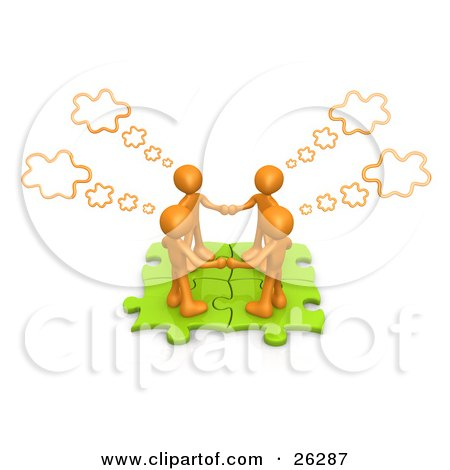 Four Orange People Holding Hands And Standing On Connected Green Puzzle Pieces, With Thought Clouds Above Them Posters, Art Prints