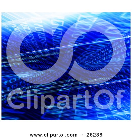 Clipart Illustration of Binary Code Flowing In Different Directions In Blue Cyber Space by KJ Pargeter