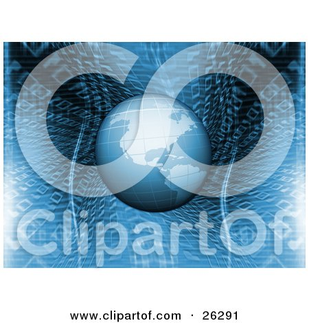 Clipart Illustration of Planet Earth Hovering Over A Blue Binary Code Background by KJ Pargeter