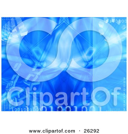 Clipart Illustration of a Blue Background Of Binary Coding And Cubes With An Ice Texture by KJ Pargeter