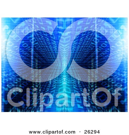 Clipart Illustration of a Blue Binary Code Background Of Zeros And Ones In A Mirrored Vortex by KJ Pargeter