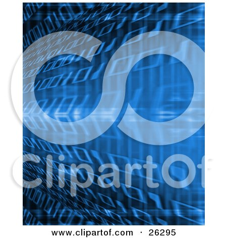 Clipart Illustration of Horizontal Rows Of Binary Coding Rushing Past In A Blur, Blue Coloring by KJ Pargeter