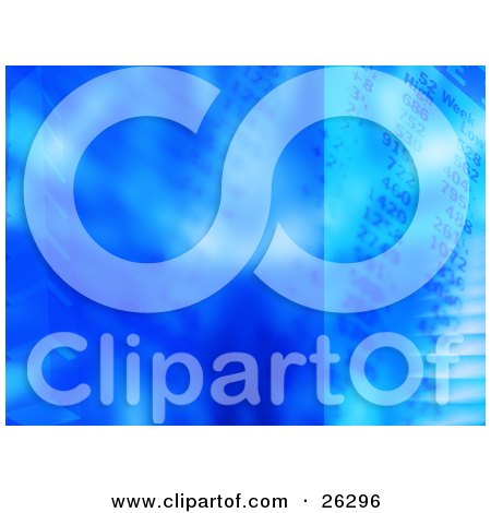 Clipart Illustration of a Blue Background Featuring Cubes And Financial Numbers by KJ Pargeter