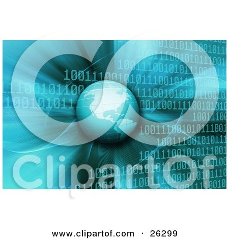 Clipart Illustration of Planet Earth Hovering Over A Blue Binary Code Background Of Rows Of Zeros And Ones by KJ Pargeter