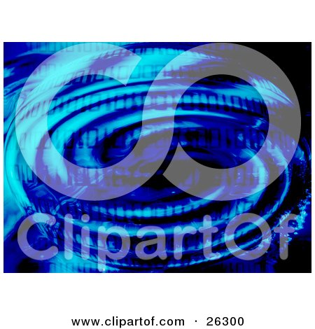 Clipart Illustration of Blue Binary Code Over A Ripple Of Water With Dark Shadows by KJ Pargeter