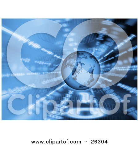 Clipart Illustration of a Blue Planet Earth Hovering Over A Spinning Background Of Binary Coding by KJ Pargeter