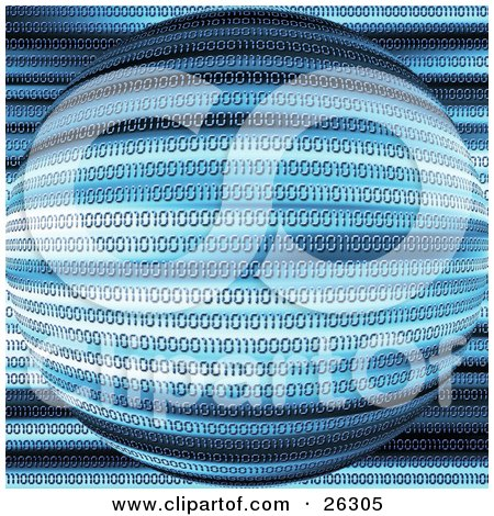 Clipart Illustration of Zeros And Ones Forming Binary Code Rows Over An Orb With Blue, Black And White Lines by KJ Pargeter