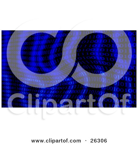 Clipart Illustration of Binary Code Of Ones And Zeros With Larger And Lighter Numbers On A Rippled Blue Background by KJ Pargeter