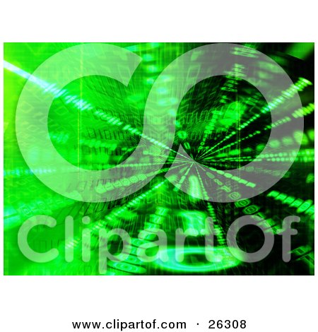 Clipart Illustration of Bright Green Zeros And Ones Forming Binary Code Over A Spinning Black Background by KJ Pargeter