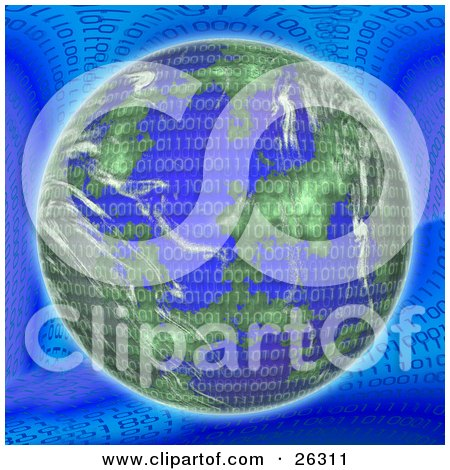 Binary Code Of Zeros And Ones Over Planet Earth On A Blue Background Posters, Art Prints