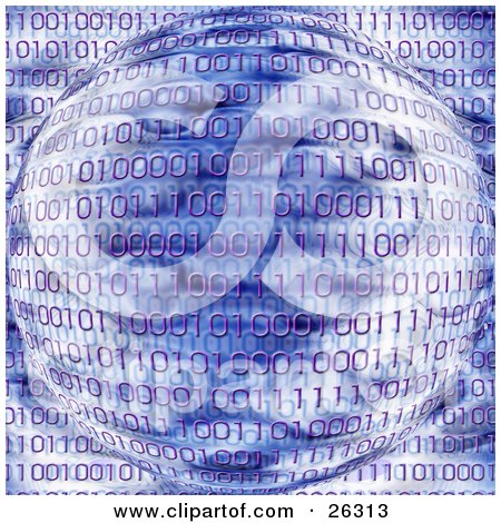 Clipart Illustration of Purple Binary Code Of Zeros And Ones Over An Orb With Blue And White Coloring by KJ Pargeter