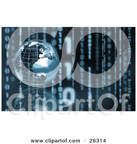 Clipart Illustration of a Silver Wire Frame Planet Earth Resting On A Reflective Surface, Over A Background Of Vertical Binary Coding With Slight Blue Toning by KJ Pargeter