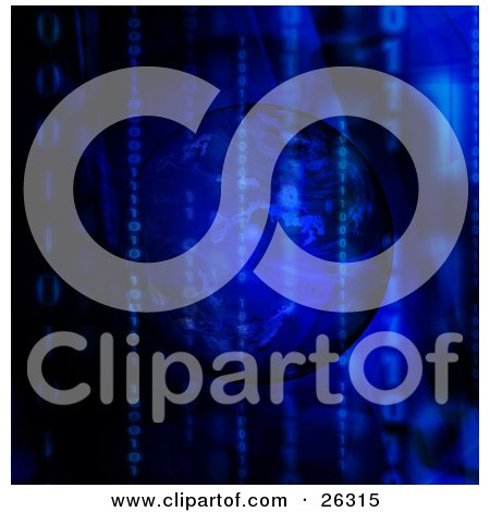 Clipart Illustration of Zeros And Ones Forming Vertical Binary Code Rows Over A Dark Blue And Black Background With An Orb by KJ Pargeter