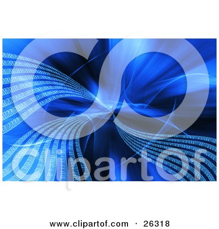 Clipart Illustration of Waves Of White Binary Code Emerging From The Center Of A Blue Background by KJ Pargeter