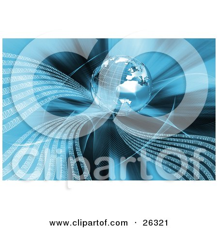 Clipart Illustration of White Waves Of Binary Code Flowing From A Silver Wire Frame Planet Earth Over A Background by KJ Pargeter