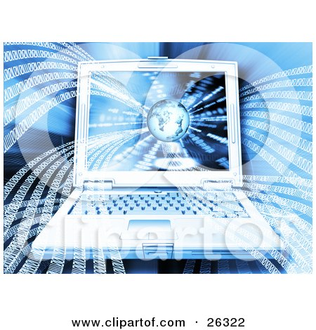 Clipart Illustration of a Notebook Computer Binary Waves Rushing Out Of A Globe On The Screen, On A Blue Background by KJ Pargeter