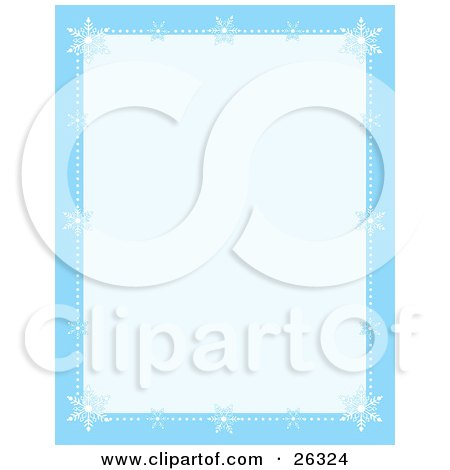 Clipart Illustration of a Blue Stationery Border With White Snowflakes And Dots Of Snow Along The Edges, With A Pale Blue Center by Maria Bell