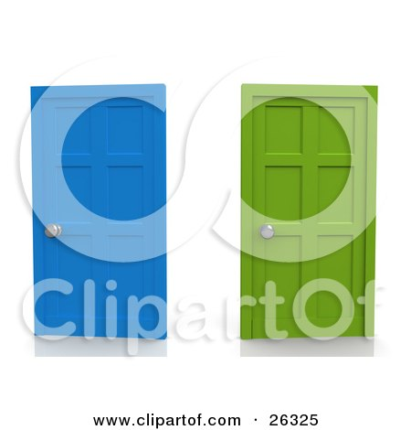 Clipart Illustration of Two Closed Doors, One Blue, One Green, Symbolizing Choices And Opportunities by 3poD