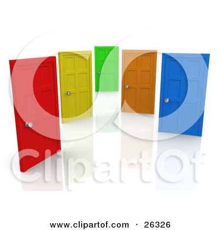 Red yellow green orange and blue closed doors symbolizing choices and