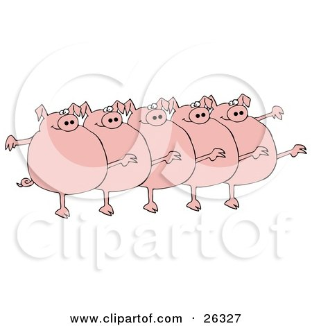 Five Fat Pink Pigs Kicking Their Legs Up While Dancing In A Chorus Line Posters, Art Prints