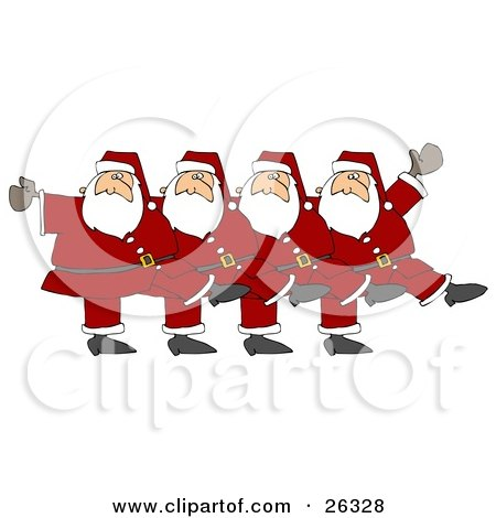 Clipart Illustration of Five Santas In Uniform, Kicking Their Legs Up While Dancing In A Chorus Line by djart