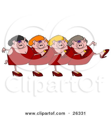 Four Pink Lady Pigs In Dresses, Heels And Wigs, Kicking Their Legs Up While Dancing In A Chorus Line Posters, Art Prints