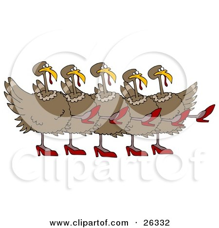 Clipart Illustration of Five Brown Turkey Birds In High Heels, Kicking Their Legs Up While Dancing In A Chorus Line by Dennis Cox