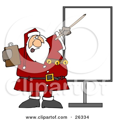 Clipart Illustration of Santa In Uniform, Holding A Clipboard And Using A Pointer Stick While Discussing Christmas Rules On A Board by djart