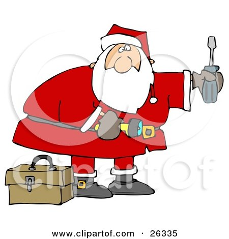 Clipart Illustration of Santa Standing By A Toolbox, Carrying A Flashlight And A Screwdriver, Looking To Do Home Repairs As A Christmas Gift by djart