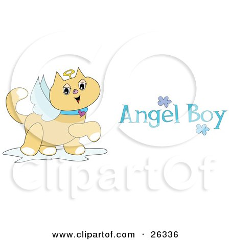 Clipart Illustration Of A Winged Angel Cat With A Halo Prancing Around With Angel Boy Text