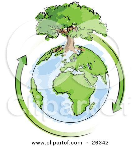 Clipart Illustration of a Large Tree Growing On Top Of The Earth With Green Arrows Circling Around It by beboy