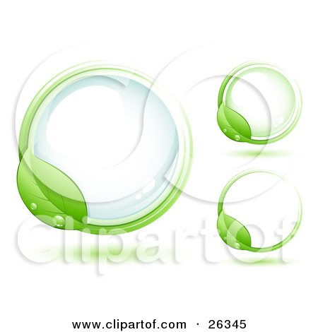 Clipart Illustration of a Green Leaf Wet With Dew, Circling Around A Blue Glass Orb, Including Two Other Versions by beboy