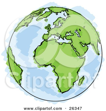 Clipart Illustration of a Drawing Of Planet Earth With Green Continents And Blue Seas, Some Coloring Out Of The Lines by beboy