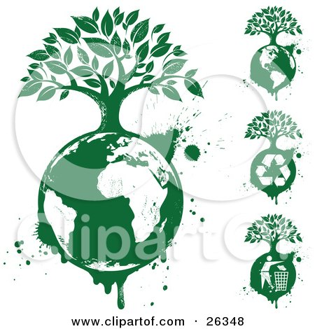 Clipart Illustration of a Grunge Collection Of Trees Growing On Top Of The Earth With Recycle Arrows, Maps And Recycling Bins by beboy