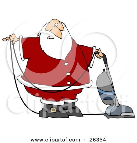 Clipart Illustration of Santa In Uniform, Vacuuming Carpet With A Vacuum by djart
